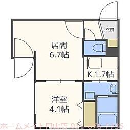 北海道札幌市中央区北二条西21丁目の賃貸マンションの間取り
