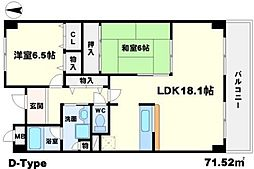 メゾンドール江坂[6階]の間取り