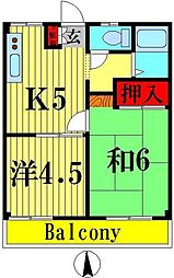 東京都足立区扇2の賃貸マンションの間取り