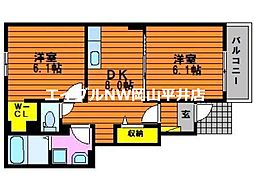 JR山陽本線 万富駅 4.9kmの賃貸アパート 1階2DKの間取り