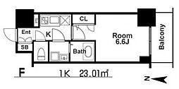 エスリード本町レジデンス 2階1Kの間取り