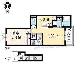 JR奈良線 城陽駅 徒歩2分の賃貸アパート 2階1LDKの間取り