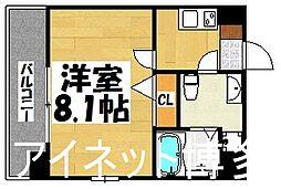 福岡市地下鉄空港線 祇園駅 徒歩10分の賃貸マンション 7階1Kの間取り