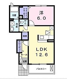 TSU・BA・KI  A棟[102号室]の間取り