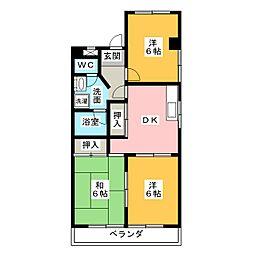 愛知県名古屋市名東区貴船1の賃貸マンションの間取り