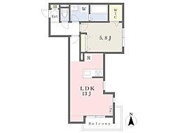 JR南武線 宿河原駅 徒歩11分の賃貸マンション 2階1LDKの間取り