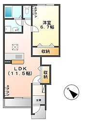 笠間市美原新築アパート[103号室号室]の間取り