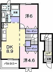 神奈川県愛甲郡愛川町中津の賃貸アパートの間取り