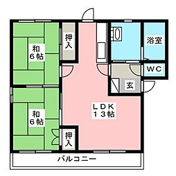 コーポハピネスII A棟[1階]の間取り