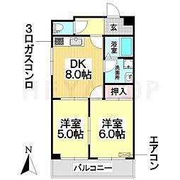 愛知県名古屋市瑞穂区本願寺町3丁目の賃貸マンションの間取り