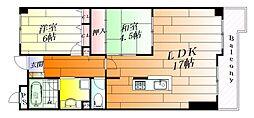 リバーサイド千里丘[4階]の間取り