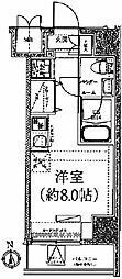 クラリッサ川崎ブルーノ 11階ワンルームの間取り