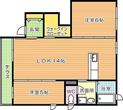 三洋タウン馬場山 C棟[1階]の間取り
