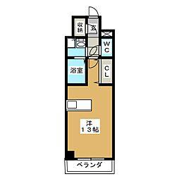 フォンテーヌ 5階ワンルームの間取り