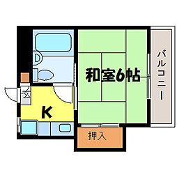 滋賀県大津市尾花川の賃貸マンションの間取り