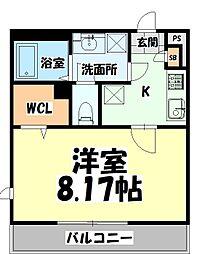JR仙石線 陸前原ノ町駅 徒歩8分の賃貸マンション 3階1Kの間取り