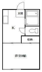 アパートメント赤池[1階]の間取り
