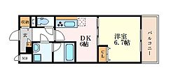 名古屋市営桜通線 高岳駅 徒歩8分の賃貸マンション 2階1DKの間取り
