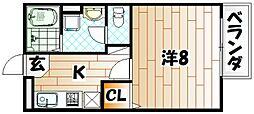 福岡県行橋市中央3の賃貸アパートの間取り