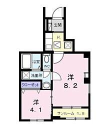 流山アパートA 1階2Kの間取り