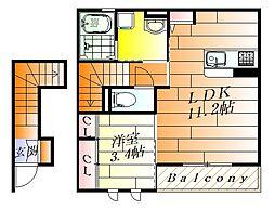 (仮称)D-room小曽根4丁目 2階1LDKの間取り