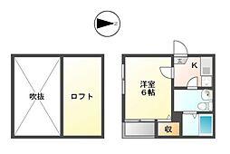 カーサルチア志賀本通[2階]の間取り