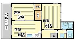 兵庫県神戸市長田区萩乃町3丁目の賃貸マンションの間取り