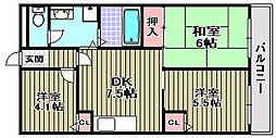 ジョイフル久米田[303号室]の間取り