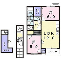 フローレス[2階]の間取り