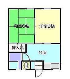 渋谷荘[102号室]の間取り