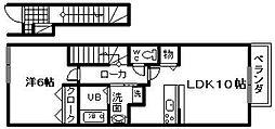 大阪府岸和田市土生町2の賃貸アパートの間取り