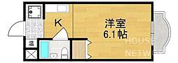 京都府京都市北区鞍馬口通寺町西入新御霊口町の賃貸マンションの間取り