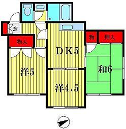 埼玉県越谷市蒲生4の賃貸アパートの間取り