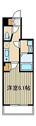 西武池袋線 桜台駅 徒歩3分の賃貸マンション 4階1Kの間取り