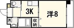 JR山陽本線 広島駅 徒歩10分の賃貸マンション 9階1Kの間取り