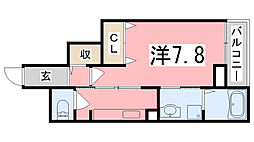 兵庫県姫路市飾磨区阿成植木の賃貸マンションの間取り