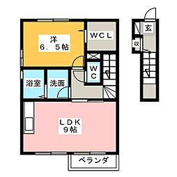 静岡県藤枝市築地の賃貸アパートの間取り