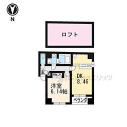 近鉄京都線 東寺駅 徒歩1分の賃貸マンション 5階1LDKの間取り