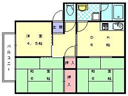 サンビレッジ花鶴B[1階]の間取り
