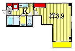 JR総武線 船橋駅 徒歩10分の賃貸マンション 4階1Kの間取り