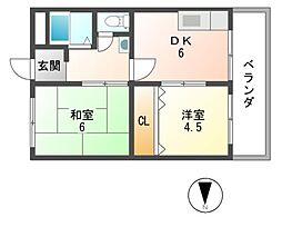 津田コーポ[2階]の間取り