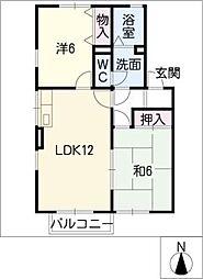 プリムヴェール壱番館・弐番館[2階]の間取り