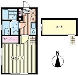 神奈川県相模原市南区若松2丁目の賃貸アパートの間取り