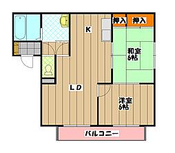 大阪府富田林市加太1丁目の賃貸アパートの間取り
