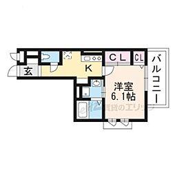 JR東海道・山陽本線 向日町駅 徒歩7分の賃貸アパート 2階1Kの間取り