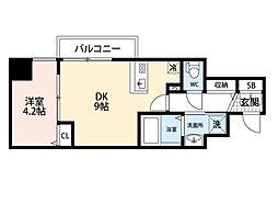 JR東海道・山陽本線 東淀川駅 徒歩2分の賃貸マンション 2階1DKの間取り