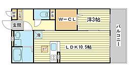 セジュール東阿保[B110号室]の間取り