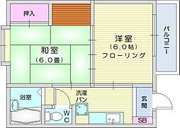 JR東北本線 太子堂駅 徒歩12分の賃貸アパート 2階2Kの間取り