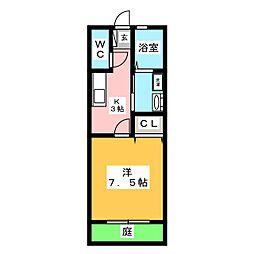 ハッピーハウスIII 1階1Kの間取り