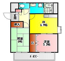 京阪本線 西三荘駅 徒歩7分の賃貸マンション 3階2DKの間取り